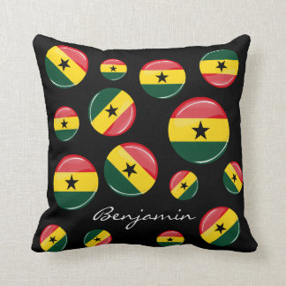 Glossy Round Ghanian Flag Pillow
