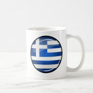 Glossy Round Greece Flag Coffee Mug
