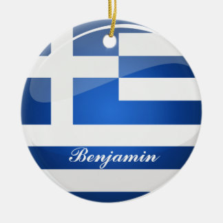Glossy Round Greece Flag Double-Sided Ceramic Round Christmas Ornament