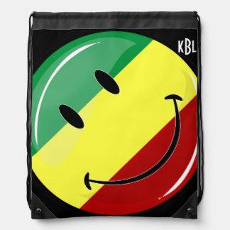 Glossy Round Happy Rasta Flag Drawstring Backpack