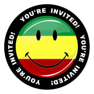 Glossy Round Happy Rasta Flag 5.25x5.25 Square Paper Invitation Card