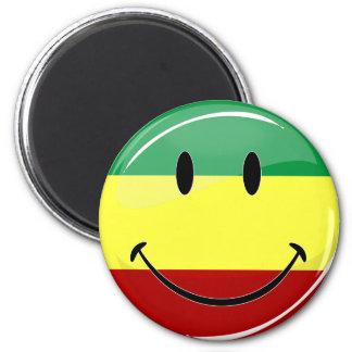 Glossy Round Happy Rasta Flag Magnet
