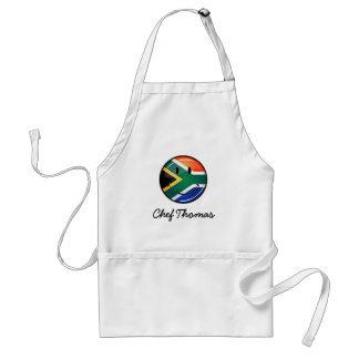 Glossy Round Happy South African Flag Adult Apron