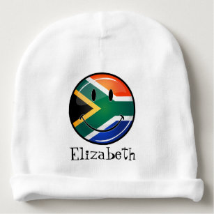 Glossy Round Happy South African Flag Baby Beanie 68998c30a9c