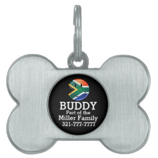 Glossy Round Happy South African Flag Pet Tag