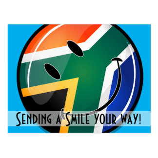 Glossy Round Happy South African Flag Postcard
