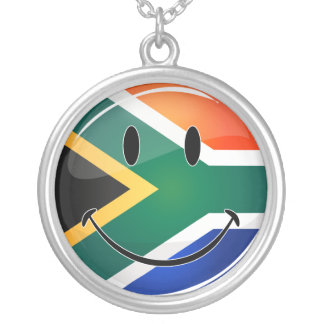 Glossy Round Happy South African Flag Round Pendant Necklace