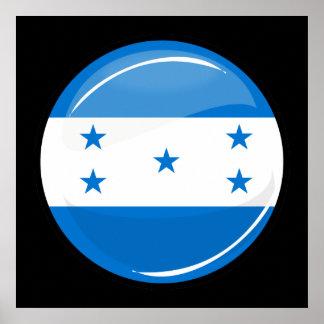Glossy Round Honduran Flag Poster