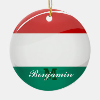 Glossy Round Hungarian Flag Ceramic Ornament