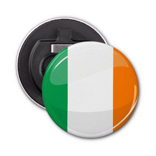 glossy round irish flag bottle opener zazzle. Black Bedroom Furniture Sets. Home Design Ideas