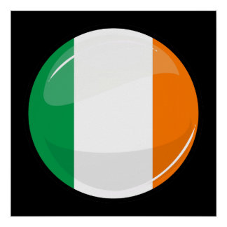 Glossy Round Irish Flag Poster