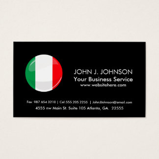 Glossy Round Italian Flag Business Card