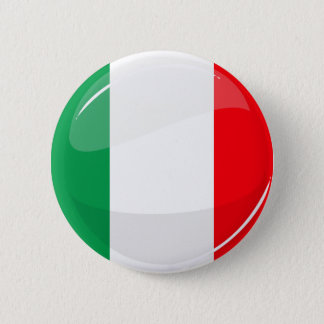 Glossy Round Italian Flag Button