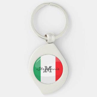 Glossy Round Italian Flag Keychain