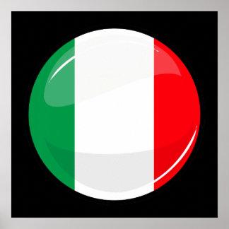 Glossy Round Italian Flag Poster