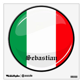 Glossy Round Italian Flag Wall Decal