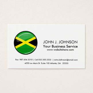 Glossy Round Jamaican Flag Business Card