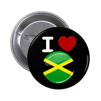 Glossy Round Jamaican Flag Button