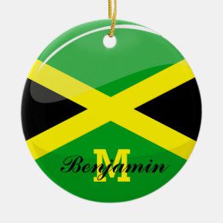 Glossy Round Jamaican Flag Ceramic Ornament