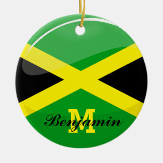 Glossy Round Jamaican Flag Double-Sided Ceramic Round Christmas Ornament