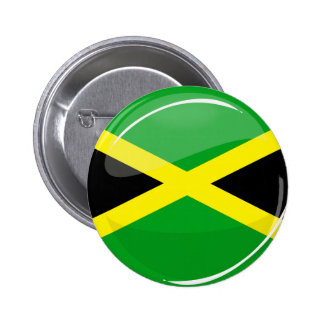 Glossy Round Jamaican Flag Pinback Button