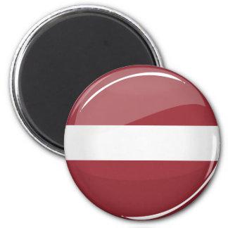 Glossy Round Latvian Flag Magnet
