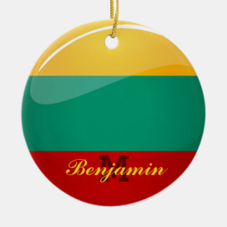 Glossy Round Lithuanian Flag Ceramic Ornament