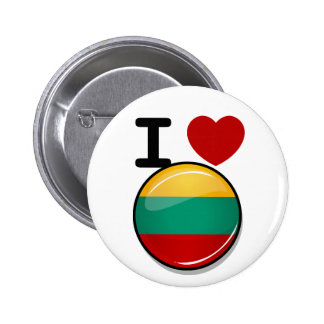 Glossy Round Lithuanian Flag Pinback Button
