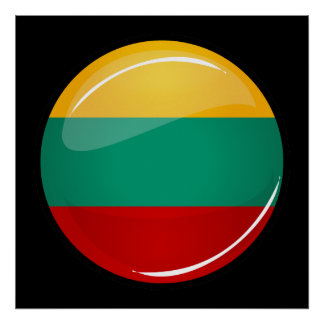Glossy Round Lithuanian Flag Poster
