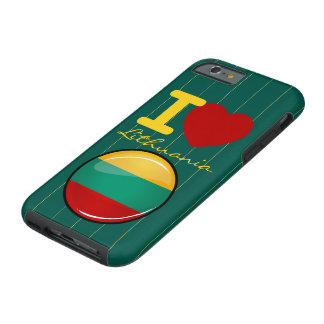 Glossy Round Lithuanian Flag Tough iPhone 6 Case