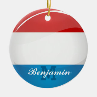 Glossy Round Luxembourg Flag Double-Sided Ceramic Round Christmas Ornament