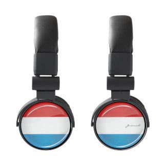 Glossy Round Luxembourg Flag Headphones