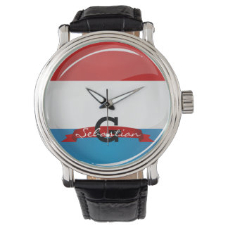 Glossy Round Luxembourg Flag Wristwatches