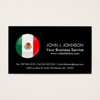 Glossy Round Mexican Flag Business Card