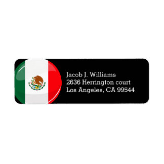 Glossy Round Mexican Flag Label