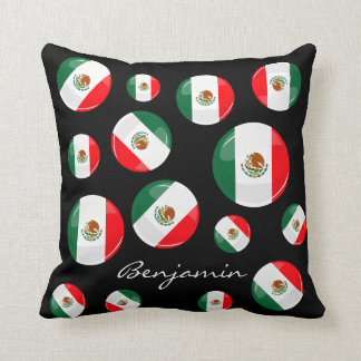 Glossy Round Mexican Flag Pillow
