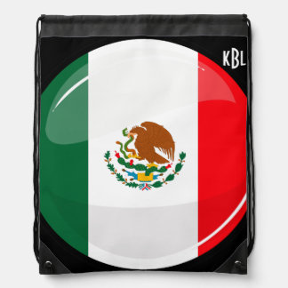 Glossy Round Mexican Flag Backpack