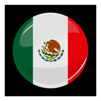 Glossy Round Mexican Flag Poster