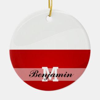 Glossy Round Monaco Flag Double-Sided Ceramic Round Christmas Ornament