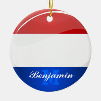 Glossy Round Netherlands Dutch Flag Double-Sided Ceramic Round Christmas Ornament