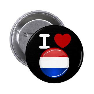 Glossy Round Netherlands Flag Button