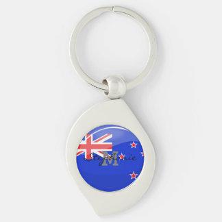 Glossy Round New Zealand Flag Keychain