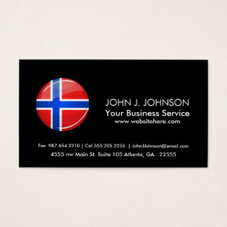 Glossy Round Norway Flag Business Card