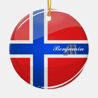 Glossy Round Norway Flag Ceramic Ornament