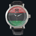 """Glossy Round Pan-African Flag Watch<br><div class=""""desc"""">Show the world the pride in your heritage with this red,  black,  and green Pan-African flag.</div>"""