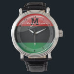 "Glossy Round Pan-African Flag Watch<br><div class=""desc"">Show the world the pride in your heritage with this red,  black,  and green Pan-African flag.</div>"