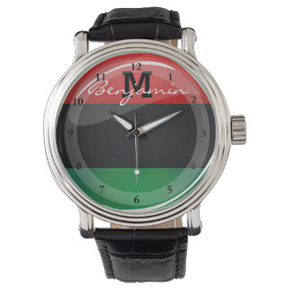 Glossy Round Pan-African Flag Watch