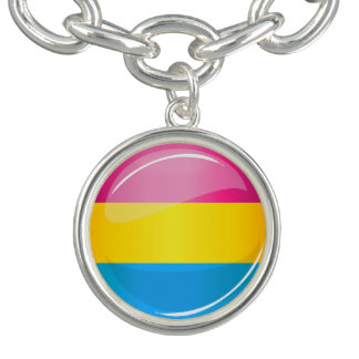 Glossy Round Pansexual Pride Flag Bracelets