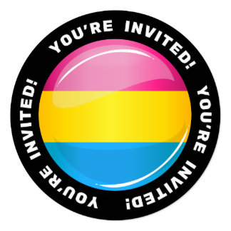 Glossy Round Pansexual Pride Flag Card
