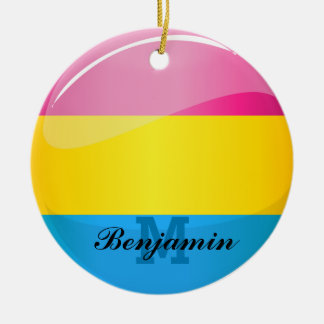 Glossy Round Pansexual Pride Flag Ceramic Ornament